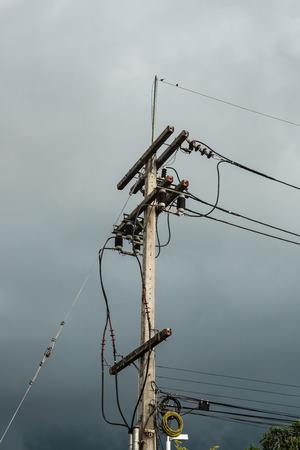 telephone poles: Electricity post before rain.