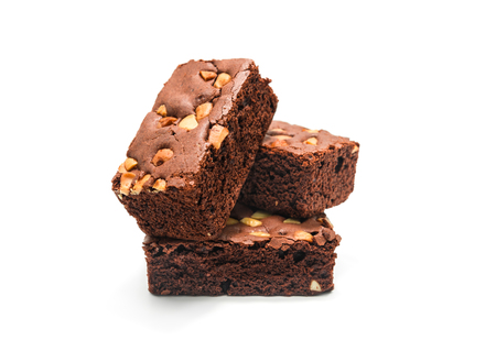Chocolate brownie with almond on white background.