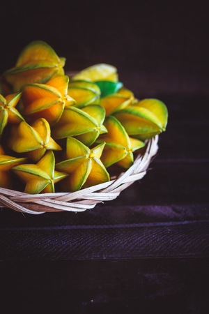 darkwood: Star fruits Stock Photo