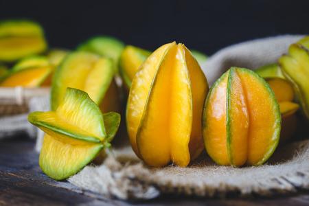darkwood: Yellow Star Fruits Stock Photo