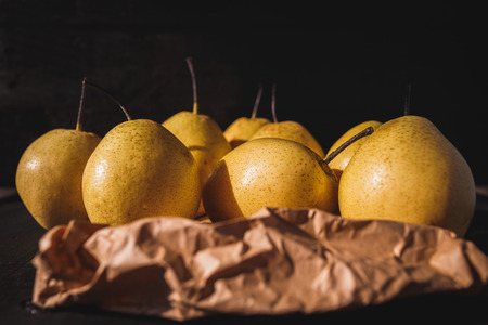 Sweet Pears on the dark background Stock Photo