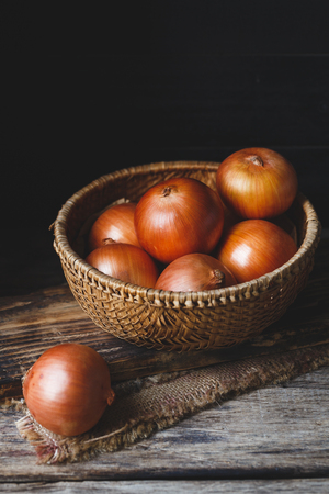 Fresh Onions on the old wood