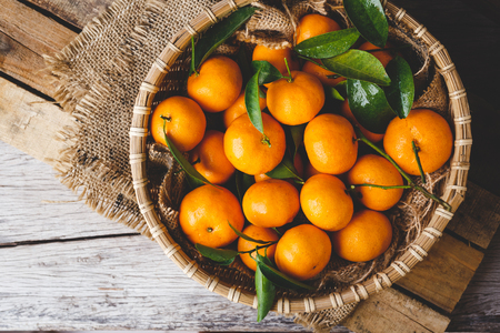 Fresh yellow mandarin fruits Stock Photo