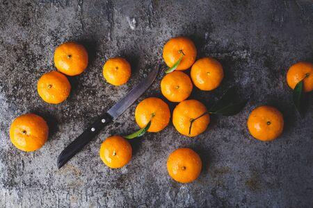 Fresh yellow mandarin fruits Stok Fotoğraf