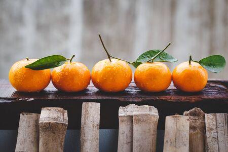Yellow mandarin fruits Stockfoto