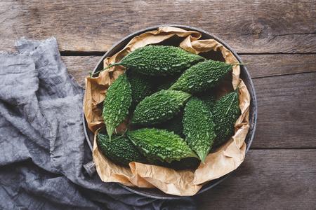 Fresh green bitter melons Banco de Imagens