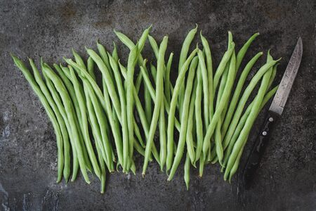Fresh French beans-Green beans on the dark background Stockfoto
