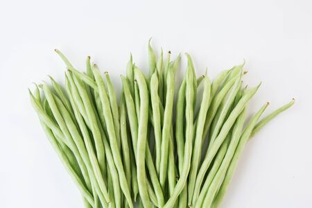 Fresh French beans-Green beans on the white background Stockfoto