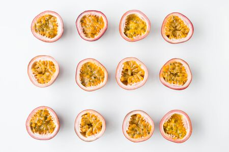Fresh passion fruit slices on the white background