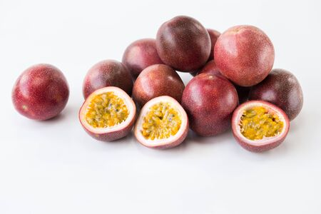 Fresh passion fruits on the white background Stockfoto