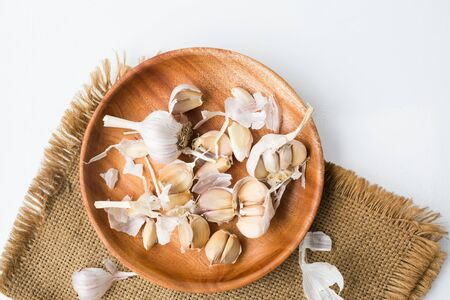 Garlic bulb-Garlic clove on white background