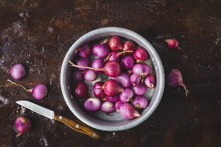 Fresh shallots on the dark background