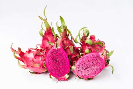 Fresh red dragon fruit- Pitaya fruit on the white background 版權商用圖片 - 152244429