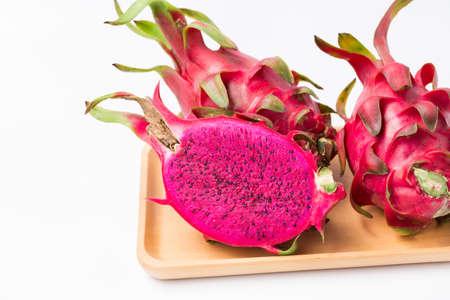 Fresh red dragon fruit- Pitaya fruit on the white background 免版税图像 - 152244152