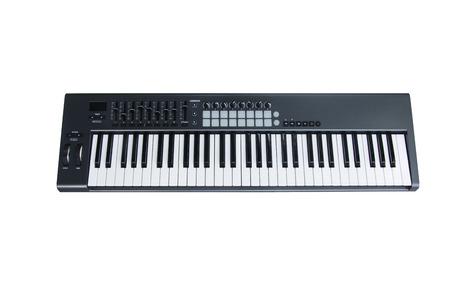 Synthesizer keyboard on white background