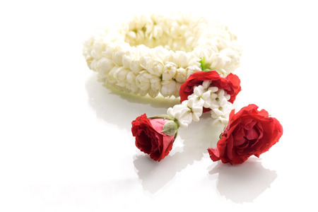 Jasmine garland, steering wheel of jasmine flower, symbol of Mothers day in thailand, to offer the monk or buddha