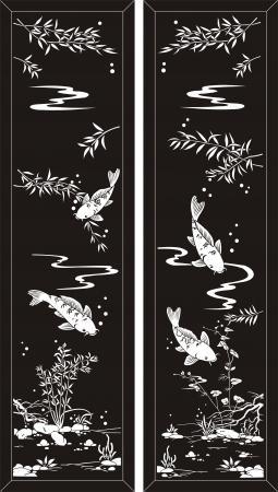 etch glass: los pescados del koi