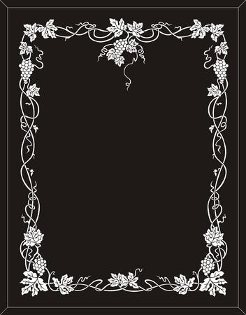 etch glass: marco uva Vectores