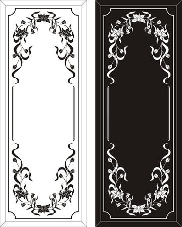etch: floral frame Illustration