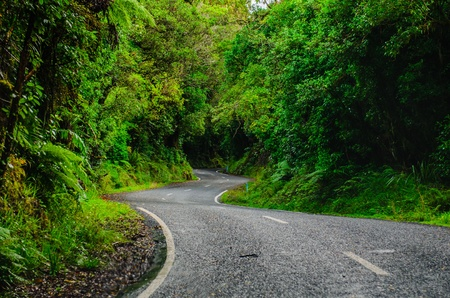 new way: Road to Mount Egmont, New Zealand  Stock Photo