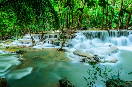 Huay Mae Khamin, Paradise Waterfall located in deep forest of Thailand  Huay Mae Khamin - Waterfall is so beautiful of waterfall in Thailand, Huay Mae Khamin National Park, Kanchanaburi, Thailand Stock Photo - 21583096