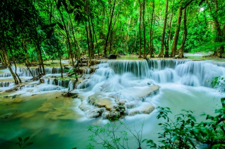 Huay Mae Khamin, Paradise Waterfall located in deep forest of Thailand  Huay Mae Khamin - Waterfall is so beautiful of waterfall in Thailand, Huay Mae Khamin National Park, Kanchanaburi, Thailand Stock Photo - 21583098