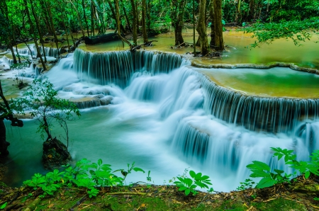 Huay Mae Khamin - Waterfall is so beautiful of waterfall in Thailand, Huay Mae Khamin National Park, Kanchanaburi, Thailand  photo