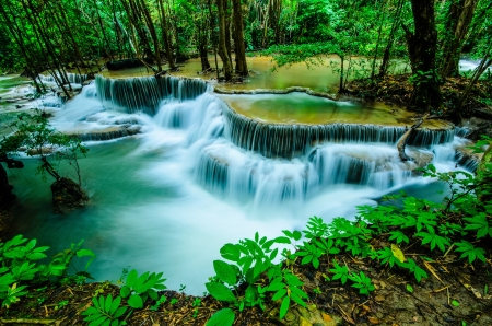 Huay Mae Khamin, Paradise Waterfall located in deep forest of Thailand  Huay Mae Khamin - Waterfall is so beautiful of waterfall in Thailand, Huay Mae Khamin National Park, Kanchanaburi, Thailand  Stock Photo - 21583100