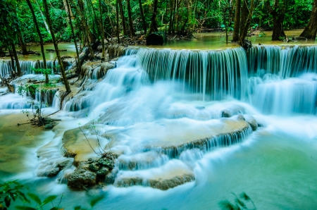 khamin: Huay Mae Khamin, Paradise Waterfall located in deep forest of Thailand  Huay Mae Khamin - Waterfall is so beautiful of waterfall in Thailand, Huay Mae Khamin National Park, Kanchanaburi, Thailand