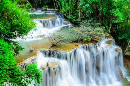 Huay Mae Khamin, Paradise Waterfall located in deep forest of Thailand  Huay Mae Khamin - Waterfall is so beautiful of waterfall in Thailand, Huay Mae Khamin National Park, Kanchanaburi, Thailand Stock Photo - 21583106