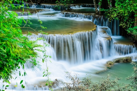 Huay Mae Khamin, Paradise Waterfall located in deep forest of Thailand  Huay Mae Khamin - Waterfall is so beautiful of waterfall in Thailand, Huay Mae Khamin National Park, Kanchanaburi, Thailand  Stock Photo - 21583107