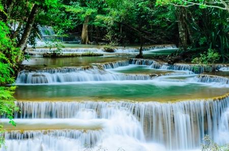 Huay Mae Khamin, Paradise Waterfall located in deep forest of Thailand  Huay Mae Khamin - Waterfall is so beautiful of waterfall in Thailand, Huay Mae Khamin National Park, Kanchanaburi, Thailand  Stock Photo - 21583109