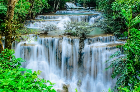 Huay Mae Khamin, Paradise Waterfall located in deep forest of Thailand  Huay Mae Khamin - Waterfall is so beautiful of waterfall in Thailand, Huay Mae Khamin National Park, Kanchanaburi, Thailand  Stock Photo - 21583110