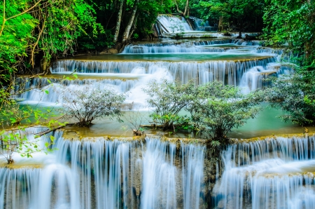 Huay Mae Khamin, Paradise Waterfall located in deep forest of Thailand  Huay Mae Khamin - Waterfall is so beautiful of waterfall in Thailand, Huay Mae Khamin National Park, Kanchanaburi, Thailand Stock Photo - 21583111