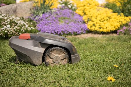 Lawn mower cutting green grass. Work alone in the garden - robot Archivio Fotografico