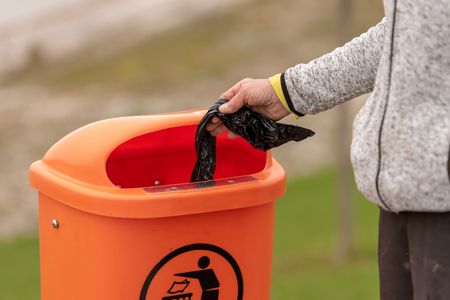 Dispose dog waste in a trash can.  Responsibility for people around the environment.