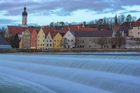 Beautiful Landsberg am Lech a city in Bavaria Germany with a waterfall Reklamní fotografie