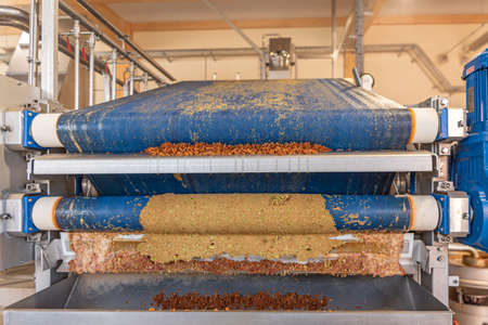 Machine squeezes apples and apple pomace remain as press residues Standard-Bild