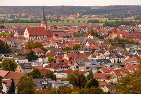 District town Mindelheim photographed from the Mindelburg. City in Germany Allgaeu.