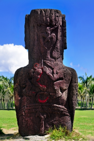 Bird carvings on standing moai in Easter Island