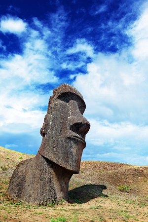 moai: Lone moai standing in Easter Island