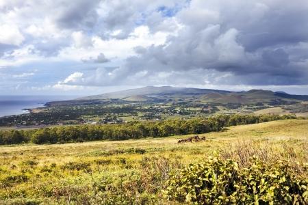 extinct: Extinct volcanoes in hills around Hanga Roa in Easter Island