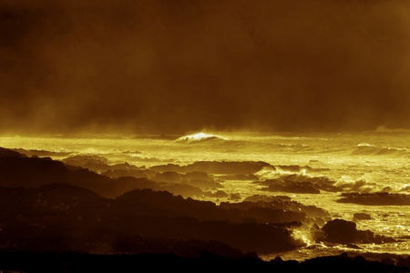Golden coast with mist background in Easter Island