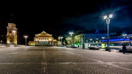 Empty city square at night in Tampere, Finland