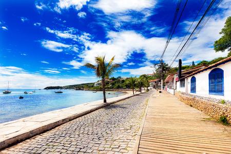 brazil beach: Small cobbled street on seaside in Buzios, Brazil Stock Photo