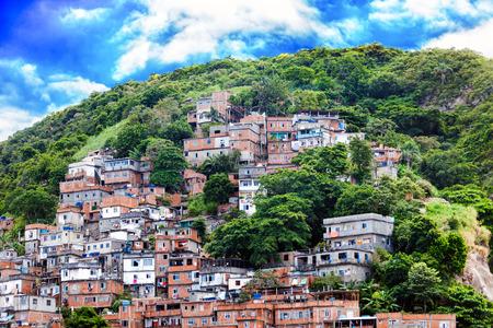 underprivileged: Favela, Brazilian slum on a hillside in Rio de Janeiro