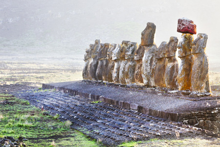 Standing moais at sunrise in Easter Island photo