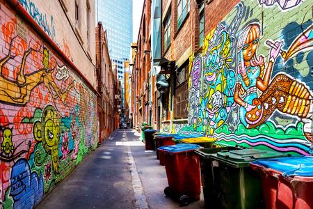 graffiti: Pintada colorida en un callejón en Melbourne, Australia