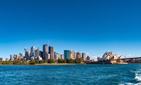 Sydney city skyline seen from the sea