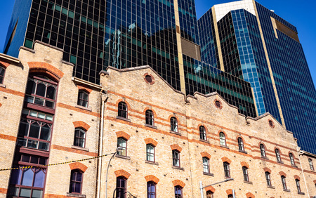 Closeup of old and new buildings in Barangaroo Sydney